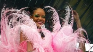 rihanna in pink feathers